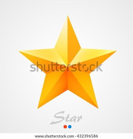 Golden star on orange background. Vector illustration - stock vector