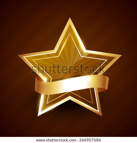 golden star shining with ribbon surrounding it - stock vector