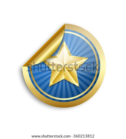 Golden star sticker for custom design purposes placed on white background - stock vector