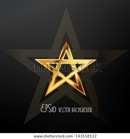 Golden star, vector - stock vector