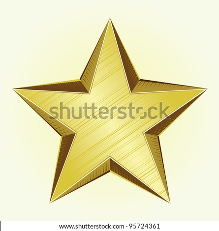 Golden Star - vector - stock vector