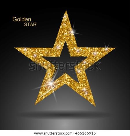 Golden Star Vector Banner Gold Glitter Stock Vector ...