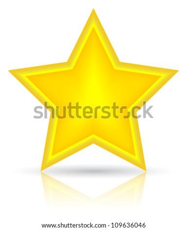 Golden star vector illustration. Icon on white background - stock vector