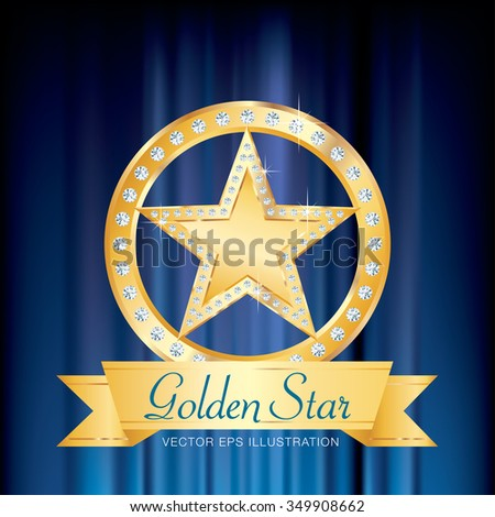 golden star with diamonds on golden circle stage with banner and blue velvet - stock vector