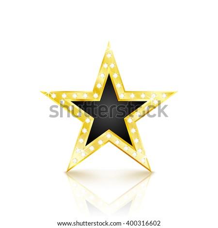 Golden star with diamonds on white background. Vector Illustration - stock vector