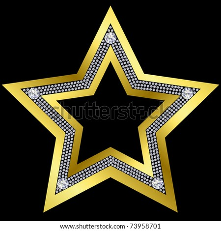 Golden star with diamonds, vector - stock vector
