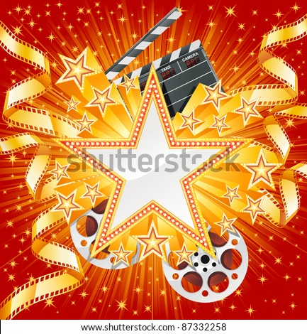 Golden star with golden film, on the shiny background. File separated on layers. - stock vector