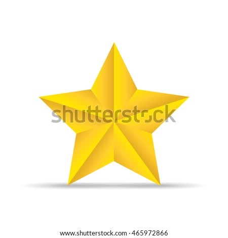 Golden star with shadow on a white background