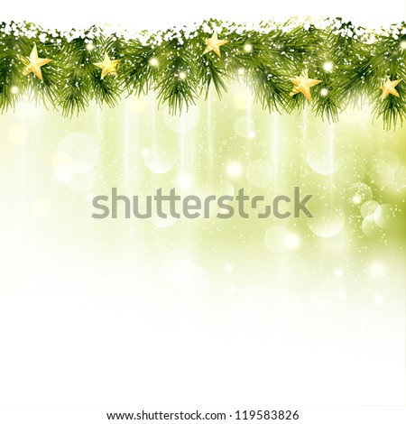 Golden stars in a border of fir twigs on a soft golden green background with blurry lights, light effects and snowfall. Festive and wintry, great background for any Christmas or winter theme. - stock vector