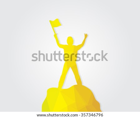 Golden statue man standing on the top of mountain, - stock vector