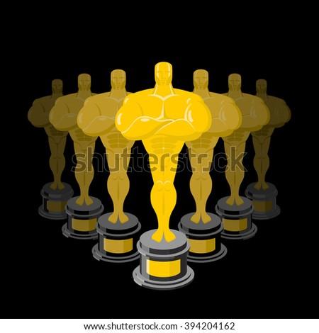 Golden statuette on black background. Dream Director. Gold figure   - stock vector