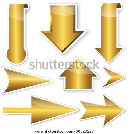 Golden stickers from arrows. 10EPS. Vector illustration. - stock vector