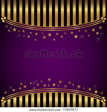 Golden striped background with banner and stars. vector.