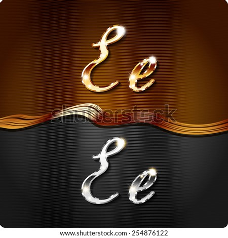 """Golden stylish italic letters and italic metal letters of the alphabet. Capital letter """"E"""" and lowercase """"e"""". Set, vector EPS10. The rest of numbers and letters of the alphabet in my portfolio. - stock vector"""
