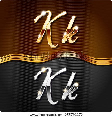 """Golden stylish italic letters and italic metal letters of the alphabet. Capital letter """"K"""" and lowercase """"k"""". Set, vector EPS10. The rest of numbers and letters of the alphabet in my portfolio. - stock vector"""