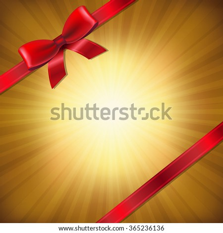 Golden Sunburst With Red Ribbon And Bow With Gradient Mesh, Vector Illustration - stock vector