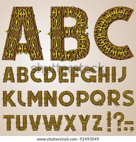 Golden Swirly Alphabet - stock vector