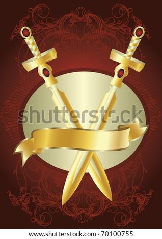 golden swords - stock vector