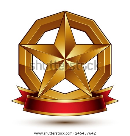 Golden symbol with stylized pentagonal glossy star and red decorative curvy ribbon. Refined vector icon placed in a circle. Sophisticated gold ring isolated on white background.  - stock vector