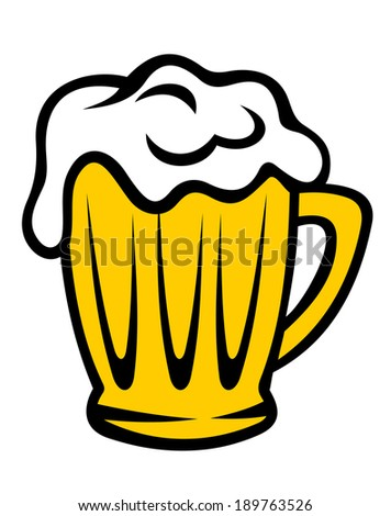 Golden tankard of beer with a frothy head overflowing down the sides of the glass, cartoon illustration - stock vector
