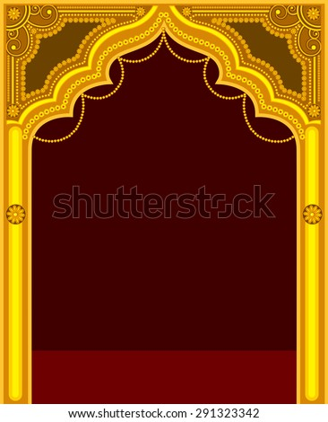 Golden Temple Door Frame - stock vector