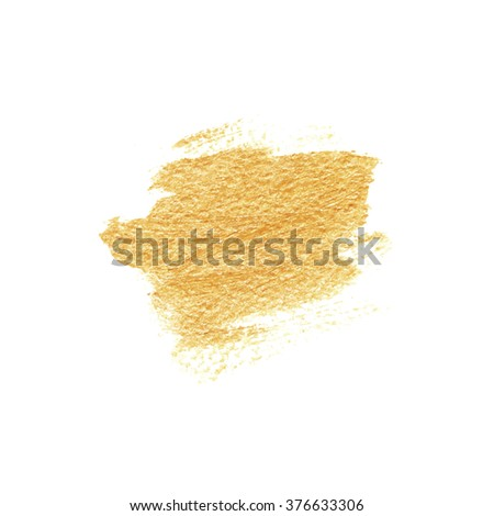Golden texture, paint stain. Hand drawn brush stroke, vector design element.