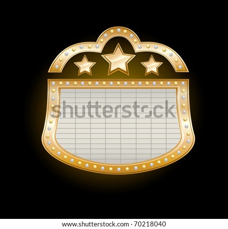 Golden Theater Marquee with stars and  lights on black, vector illustration - stock vector