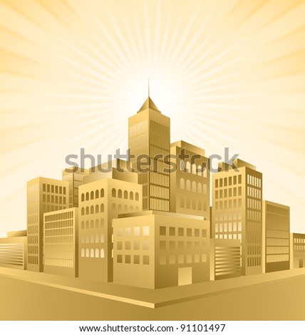 Golden town with sunburst effect - stock vector