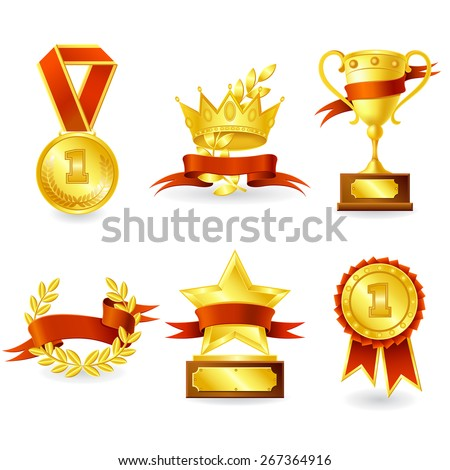 Golden trophy and prize emblem set of shield star medal and wreath isolated vector illustration.  - stock vector