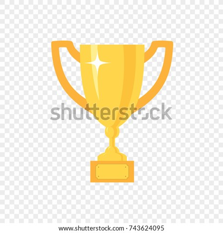 Golden Trophy Cup Vector Icon On Transparent Background First Place Championship Prize