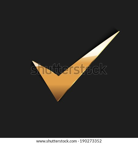 Golden true sign,vector - stock vector