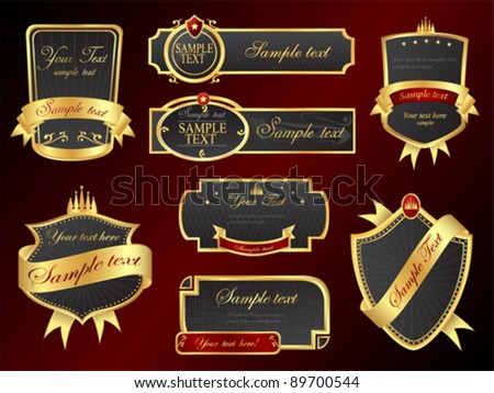 Golden Vector Banners Set - stock vector