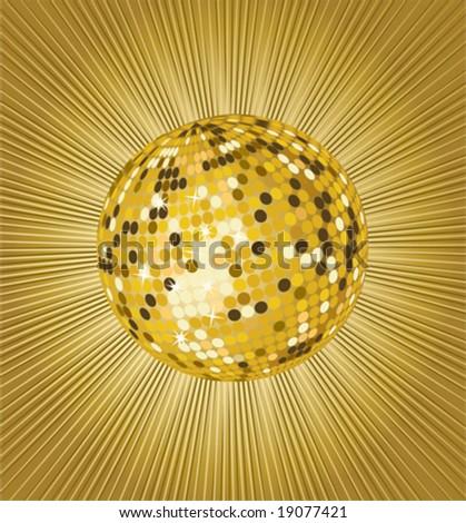 golden vector disco ball - stock vector