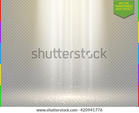 Golden vector light effect on transparent background. Glow ray and sparkling scene design. Shining sparks in air - stock vector