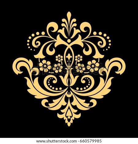 Golden Vector Pattern On A Black Background Damask Graphic Ornament Floral Design Element