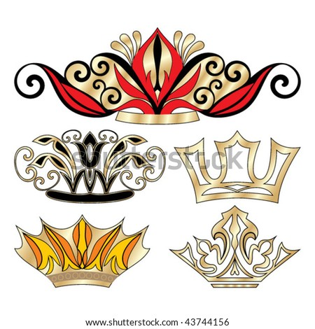 Golden vectorized crown - stock vector