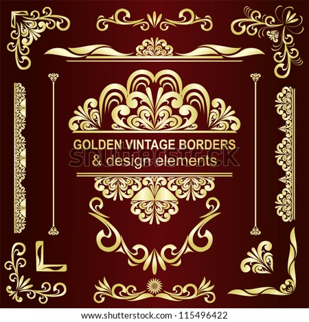 Golden vintage borders & design elements - vector set. - stock vector