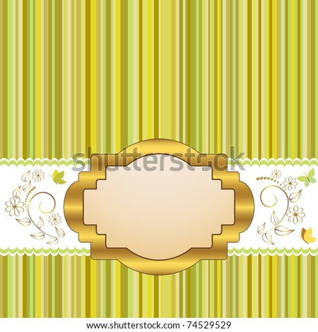 Golden vintage frame design for greeting card with floral and butterflies. Vector.