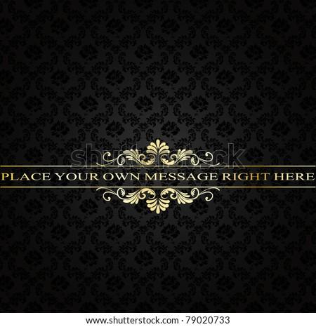 golden vintage frame on damask background - stock vector
