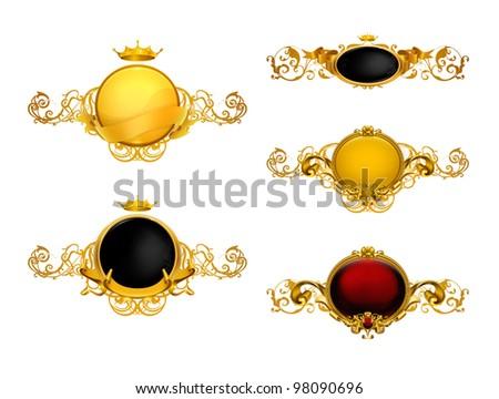 Golden Vintage Frames, vector set - stock vector