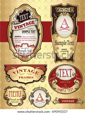 golden vintage label design - stock vector