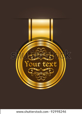 Golden vintage sticker. Vector vintage collections. - stock vector