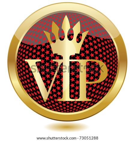 Golden VIP button.Vector - stock vector