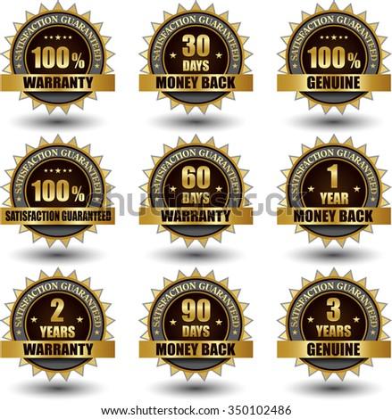 Golden Warranty banner symbol label - stock vector