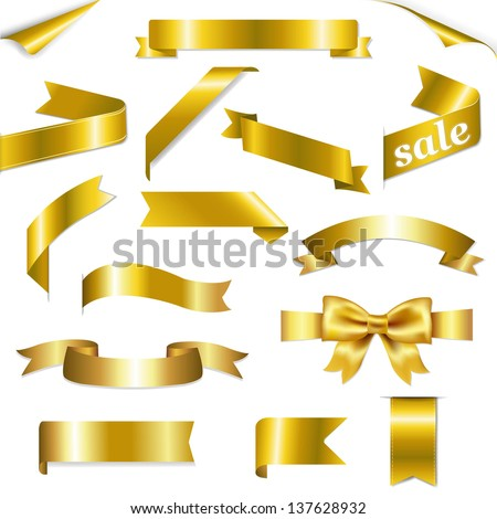Golden Web Ribbons Set With Gradient Mesh, Isolated On White Background, Vector Illustration - stock vector