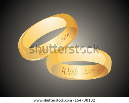 Golden wedding rings. - stock vector