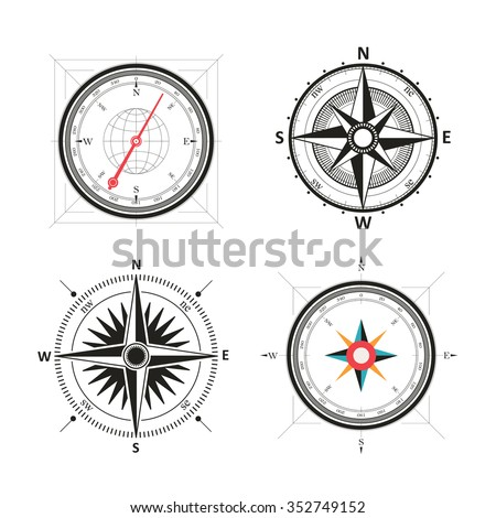 Golden wind rose compasses in set. Isolated vector compass isolated on white - stock vector
