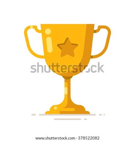 Golden winner cup. Award symbol. Vector flat illustration. - stock vector