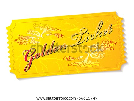 Golden winning prize ticket illustration with floral elements - stock vector