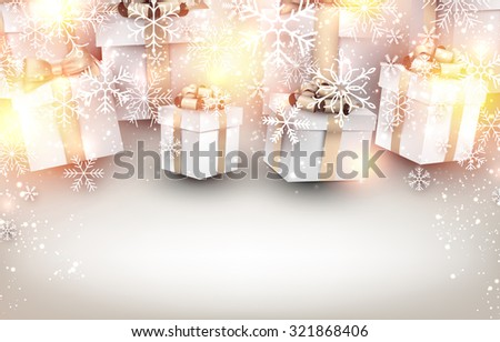 Golden winter background. Fallen bright snowflakes. Christmas gifts with place for text. Vector illustration.  - stock vector